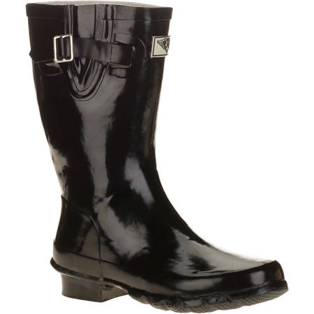 Forever Young Women's Short Shaft Rain Boots - Black Boots With Gold Trim