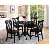 East West Furniture DLNO3-BLK-W 3PC Kitchen Round Table with 2 Drop Leaves and 2 slatted -back Chairs with wood Seat