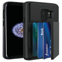 Blackweb Phone Case With Easy-Access Fan-Out Hidden Credit Card Holder & Stand For Samsung Galaxy S9 - Black