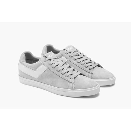 Pony TOP STAR LO CORE Womens Suede Grey White Low Top Lace Up Fashion Sneakers (9 (Canvas Suede Sneakers)