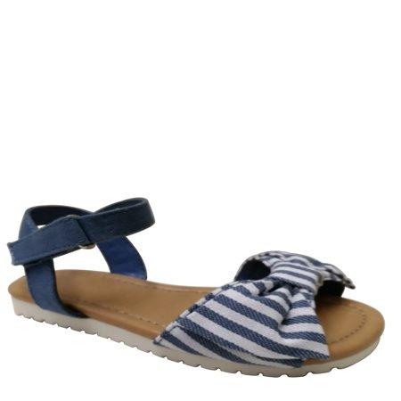 Wonder Nation Toddler Girls' Striped Bow Sandal (Bowie Sandal)