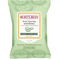 Burt's Bees Facial Cleansing Towelettes for Normal to Dry Skin, Cucumber and Sage, 30 ct