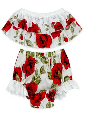 StylesILove Baby Girls 2 Pcs Summer Cute Off-shoulder Tank Tops Shorts Sunsuit (0-3 Months)