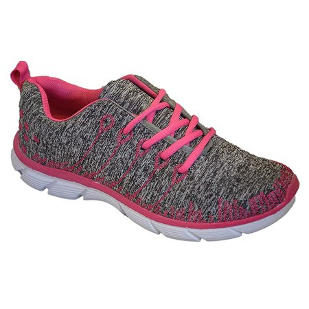 Womens Sneakers Athletic Knit Mesh Running Light Weight Walking Casual Comfort Running Shoes Breathable (8, Pink/Grey with Memory Foam Insole) (Mesh Tennis Shoes)