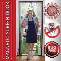 Magnetic Mosquito Screen Door Heavy Duty Mesh & Hands Free Magnetic Magic Closer