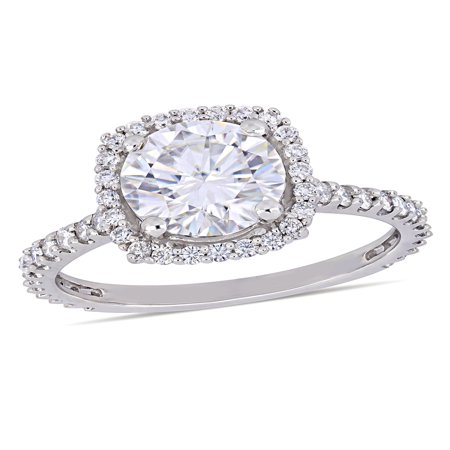 Moissanite Halo Ring (Miabella 2-1/2 Carat T.G.W. Moissanite 10k White Gold Halo Engagement Ring )