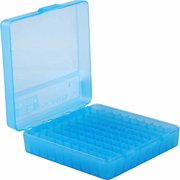 "MTM P-100 FLIP-TOP PISTOL AMMO BOX 1.22"" OAL BLUE POLY"