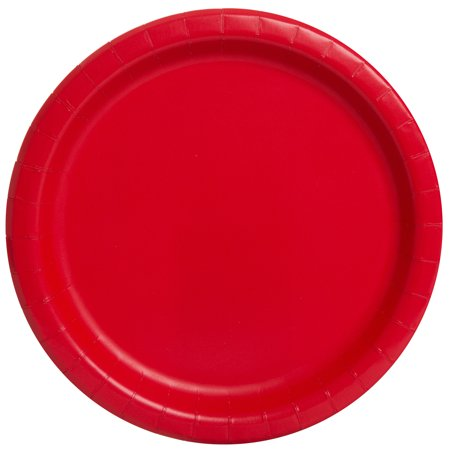 Red Paper Dinner Plates, 9in, - Black Rim Dinner Plate