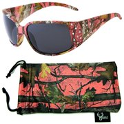 c0dee91c7e18 Hornz Pink Camouflage Polarized Sunglasses Country Girl Style Rhinestone  Accents   Free Matching Microfiber Pouch -