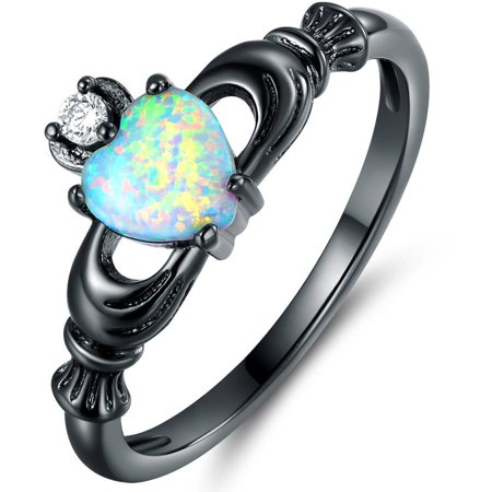 CZ and Lab Created Fire Opal Black Rhodium-Plated Heart Crown Ring Cubic Zirconia Birthstone Flip Flop