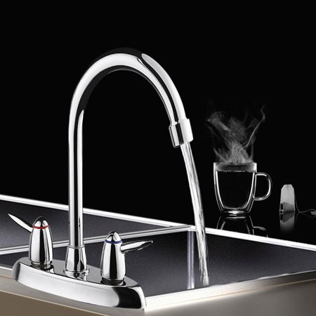 Stainless Steel 360° Double Handle Spray Spout Mixer Tap High Arc Swive l Commercial Kitchen Sink Faucet Bathroom Washbasin Faucet Gooseneck (5/8 Washbasin)