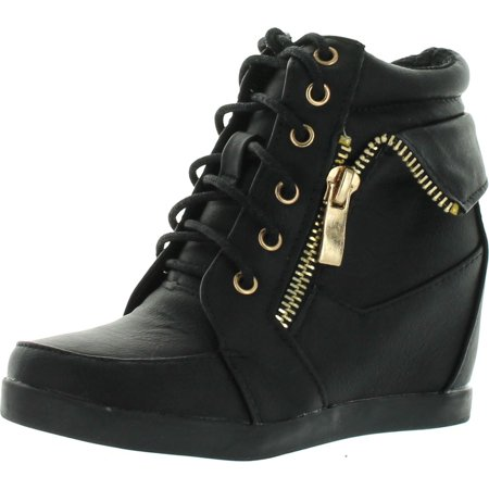 Lucky Top Girls Peter30 Kids Fashion Leatherette Lace-up High Top Wedge Sneaker Bootie
