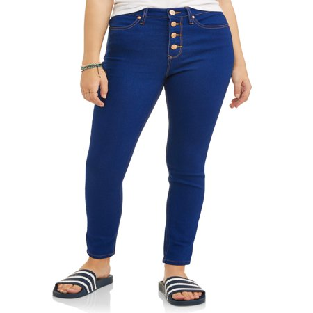 Juniors' Classic High Rise Exposed Button Skinny Jeans