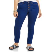 Cherry Blossom Junior's Classic High Rise Exposed Button Skinny Jeans