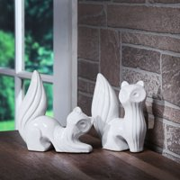 Mainstays Decorative Table Top Ceramic Fox Statue, White