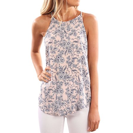 Nlife Women Floral Print Crew Neck Sleeveless Shirt Tops Tee Tanks (Crew Sleeveless)