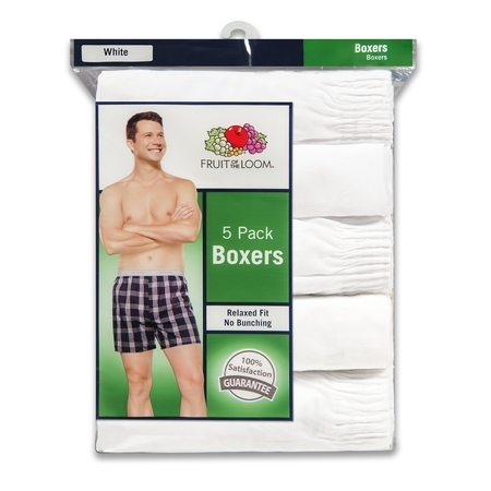 Men's Dual Defense Relaxed Fit White Boxers, 5 -
