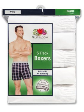 Men's Dual Defense Relaxed Fit White Boxers, 5 Pack
