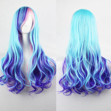 DYMADE Women Lady Multi-Color Lolita Style Long Wave Hair Fancy Cosplay Party Hair Wig](Short Light Blue Wig)