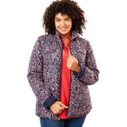 ef5c6a943c3 Woman Within Plus Size Print-trimmed Quilted Jacket