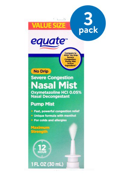 (3 Pack) Equate No Drip Severe Congestion Nasal Mist, 1 Fl