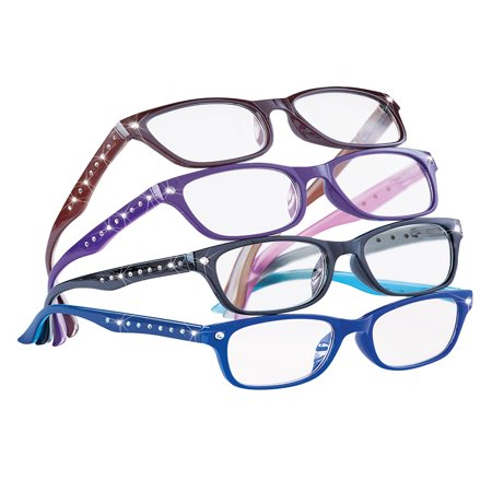 Cute Stylish Rhinestone Reading Glasses for Women, 4 ct., 3.5, Multicolored - Nurd Glasses