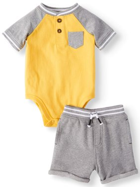 Baby Boys' Pocket Henley Bodysuit and French Terry Shorts, 2-Piece Outfit Set