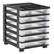 IRIS 6-Drawer Rolling Storage Cart with Organizer Top, Black