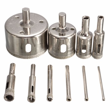 - 10Pcs Diamond Coated Core Hole Saw Drill Bit Set Hole Saw Cutter For Tile Ceramic Glass Marble, 3-50mm