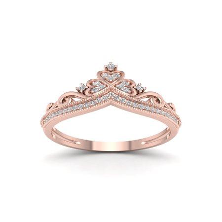 1/8ct TDW Diamond 10K Rose Gold Crown Fashion Ring