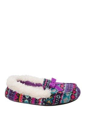 DF by Dearfoams Girls' Sweater Knit Moc Slippers