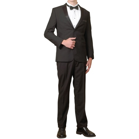 Men's Tuxedo Package | 5 Piece Complete Set | Suit Jacket, Tux Pants, Shirt Cummerbund and Bow -