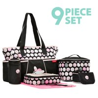 SoHo Pink Zebra diaper bag 9 pieces Set