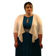 03077020c49e1 SleekTrends Womens Elbow Sleeve Plus Size Open Draped Front Bolero Jacket -  Shrugs