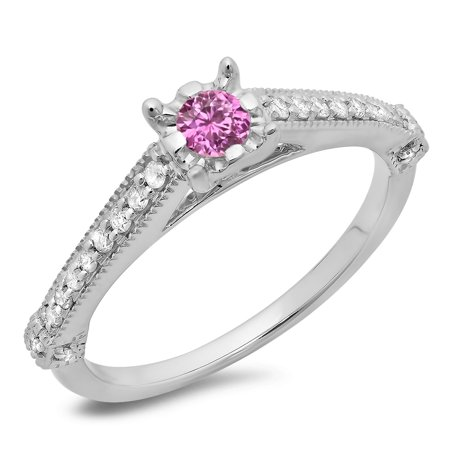 14K Gold Round Cut Pink Sapphire & White Diamond Solitaire With Accents Engagement Ring