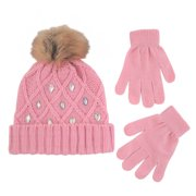 Little Girls Cuffed Beanie and Gloves Cold Weather Set c87602045f26