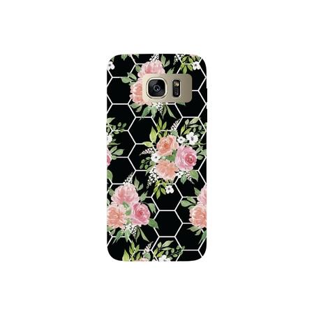 Octagon Flower - Octagon Pattern Flower Black Printed Lightweight Hard Plastic Phone Case