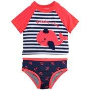 91a5e15ff8 Wippette Baby Girls Swimwear Whale Stripes and Anchor 2-Piece Rashguard