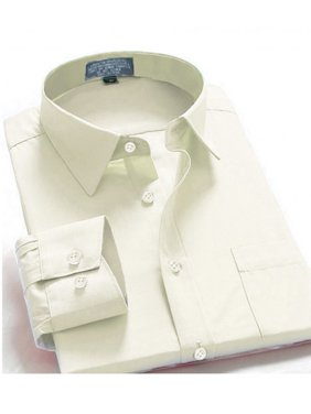 Men Dress Shirt Regular Fit Oxford Solid Color