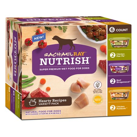 Rachael Ray Nutrish Natural Wet Dog Food, Hearty Recipes Variety Pack, 8 oz tubs, Pack of - Hparty City