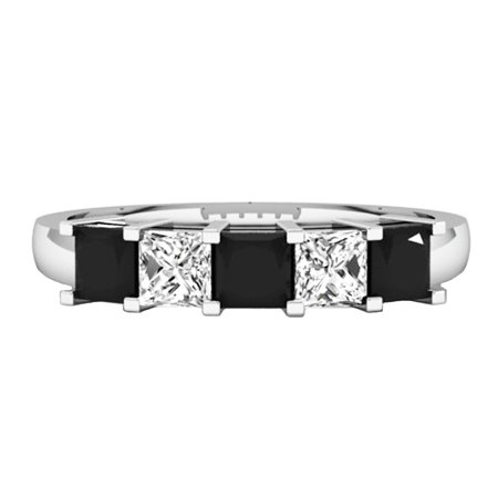 18k White Gold 5 Stone (Dazzlingrock Collection 1.35 Carat (ctw) 18K Black & White Diamond 5 Stone Bridal Wedding Ring, White Gold, Size)