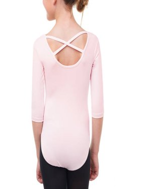 Girls' 3/4 Sleeve Premium Dance Leotard With Strappy Back