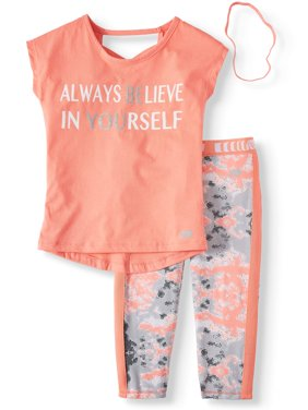 Believe In Yourself Top and Camo Performance Legging, 2-Piece Active Set (Little Girls & Big Girls)