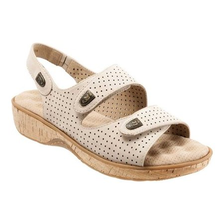 Softwalk Bolivia Women WW Open-Toe Leather Beige Slingback Sandal - Leather Womens Sandals