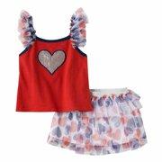 fbc7cf50739 Little Lass Infant Girls Red White Blue Heart Shirt Skirt Set Outfit