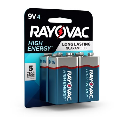 Rayovac High Energy Alkaline, 9V Batteries, 4