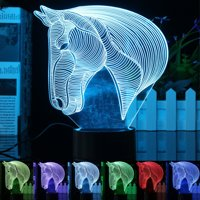3D Lamp LED Horse Touch Switch 7 Color Change Night Light For Bedroom Party Kid Valentine's Day Birthday Gift