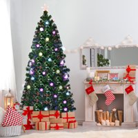 Costway 6.5Ft Pre-Lit Fiber Optic Artificial Christmas Tree w/ Multicolor Lights & Stand