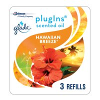 Glade PlugIns Scented Oil Refill Hawaiian Breeze, Essential Oil Infused Wall Plug In, Up to 50 Days of Continuous Fragrance, 1.34 oz, Pack of 3