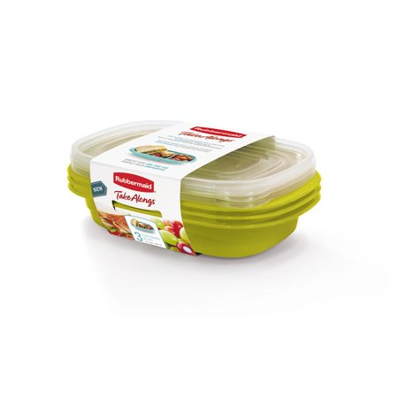 - Rubbermaid TakeAlongs Sandwich Food Storage Containers, 3.7 Cup, 3 Pack